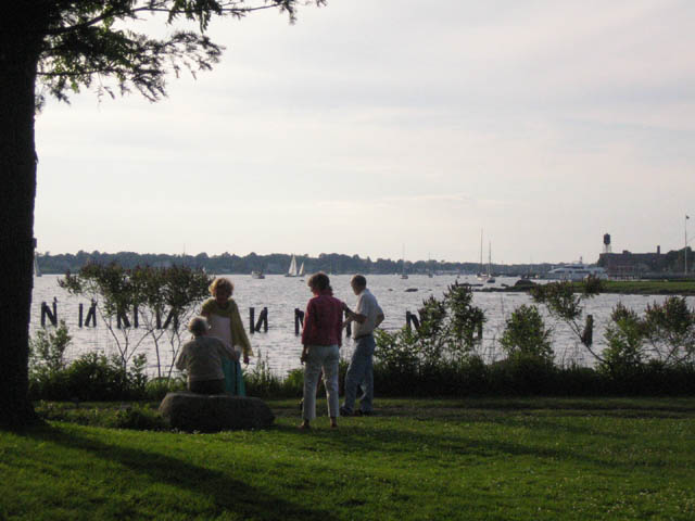 Watching the yacht race at the Rock Garden Soiree