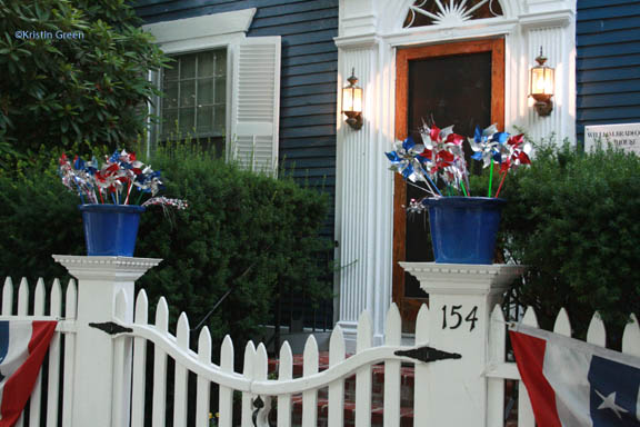 Patriotic pots along the parade route
