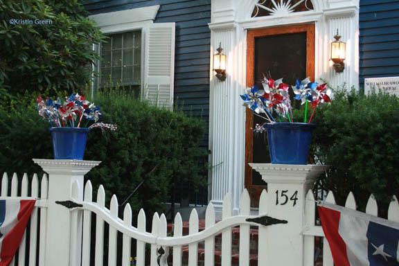 Patriotic pots along the parade route
