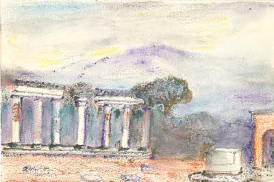 Marjorie's pastel of The Forum, Pompeii