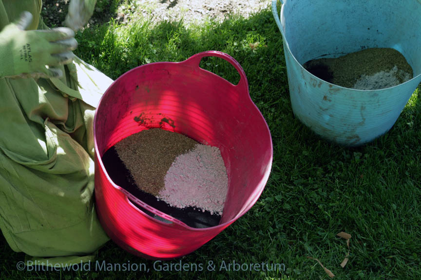 A concoction of soil amendments for the Rose Garden