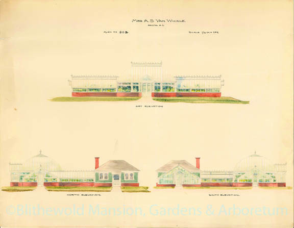 Original rendering of Blithewold's Lord & Burnham Greenhouse Complex