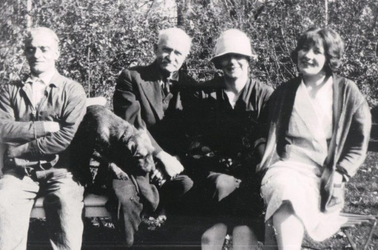 "Left to right: Anton, ""houseman""; John Best, caretaker and gardener; Mary Flynn, maid; Signhild Nyren, maid. Circa 1925"